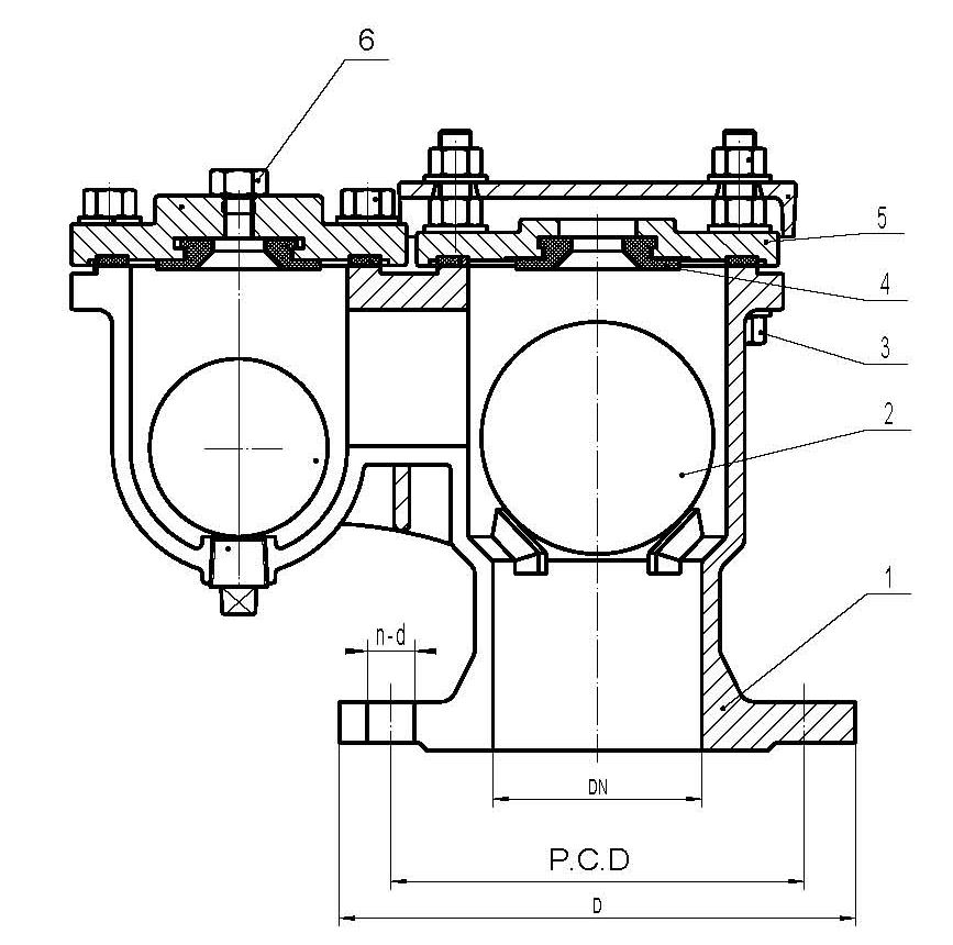 Double orifice automatic air valve flange end llypiping